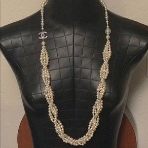 Chanel long strand pearl necklace